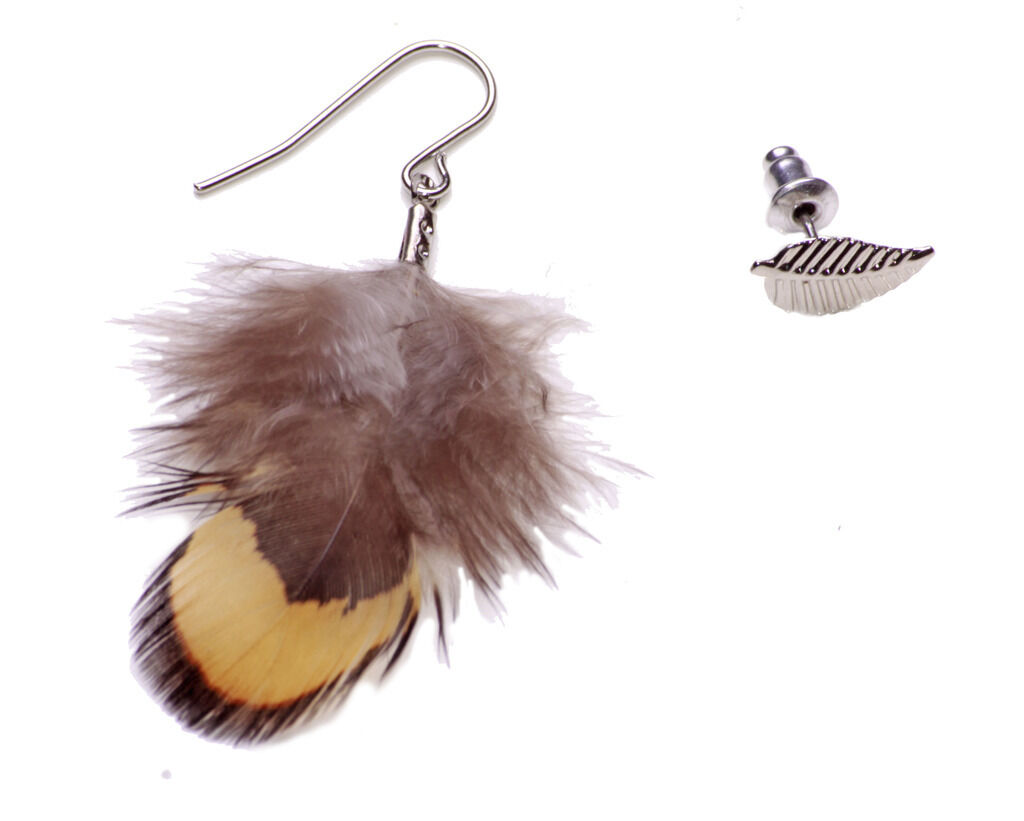 A PAIR OF LONG BROWN  FEATHER  DANGLY CLIP ON EARRINGS.