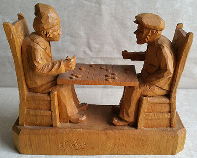 FORTIN Carved Wood Group Sculpture Checkers Game Statue Quebec Folk Art Canada, used for sale  Cary