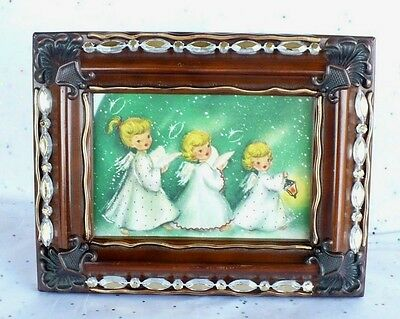 VINTAGE CHRISTMAS HALLMARK COLLECTIBLE FRAMED ANGELS CARD HANDMADE