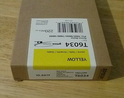 07-2020 NEW GENUINE EPSON T6034 YELLOW 220ml INK STYLUS PRO 7800 9800 7880 9880 for sale  Shipping to Canada