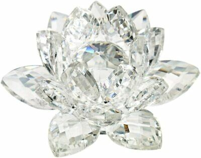 """Clear Crystal Lotus Flower Figurine, Fengshui Home Decoration, 3"""""""
