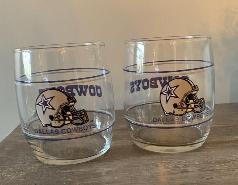 VINTAGE 90s Dallas Cowboys Pair Of Bourbon Whiskey Glasses RARE