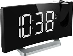 5 Blue LED Display Projection Digital Alarm Clock FM Radio USB Charging Port