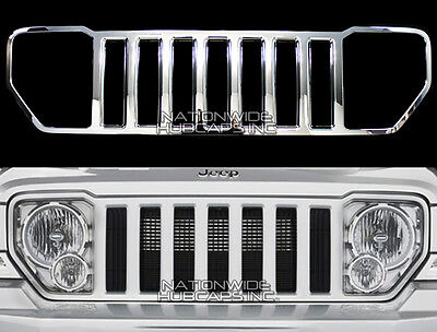 08-13 Jeep Liberty CHROME Snap On Grille Overlay Grill Cover Trim Front Insert Jeep Chrome Grill