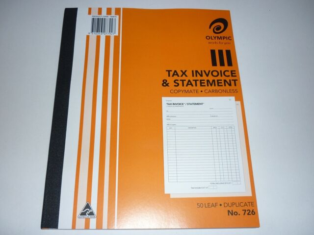 Olympic Tax Invoice & Statement book 726 copymate carbonless 50 leaf Duplicate
