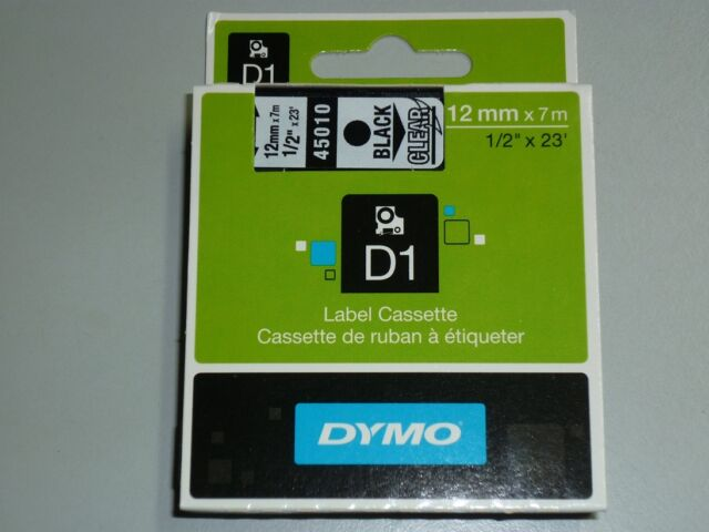 Dymo Label Cassette 12mmx7m label tape D1 BLACK on CLEAR 45010 NEW S0720500 SALE