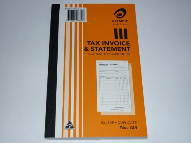 Olympic Tax Invoice & Statement 724 copymate carbonless 50 leaf duplicate No.724