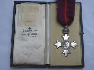 Original MBE Solid Silver Medal & Presentation Case Garrard of London. 1919.