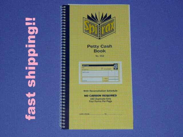 Spirax Petty Cash Book No.552 No carbon required 160 duplicate sets 4 forms page