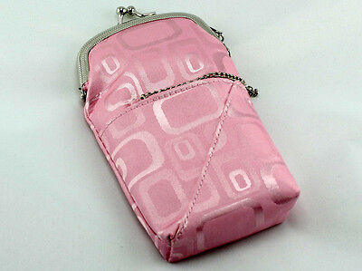 (Pink Cigarette Pack Holder Pouch Case With Lighter Compartment And Holder)
