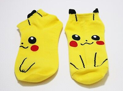 New 1 Pairs Pikachu Character Pocket Monster Socks Soft For Unisex Kids Casual