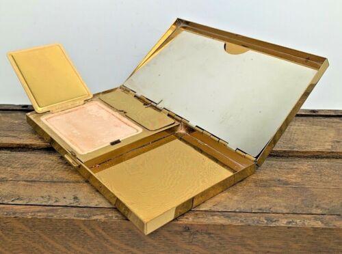 Vintage Volupte USA Powder Puff Blush Lipstick Cigarette Compact Mirror