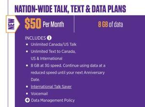 $50/8GB TRUE CANADA-WIDE, UNLIMITED CANADA/US TALK