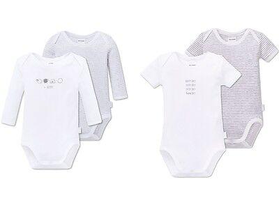 Schiesser Baby Body 2er-Pack langarm oder kurzarm unisex weiß grau Gr. 56 - 92 online kaufen