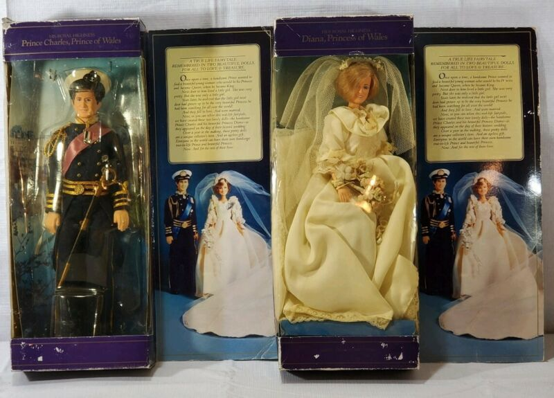 1982 Princess Diana and Prince Charles Goldberger Vintage Royal Wedding Dolls