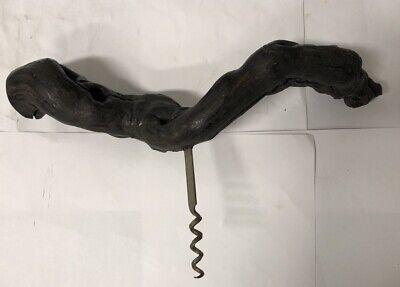 Ancien tire-bouchon en bois de cep de vigne - longueur 30 cm