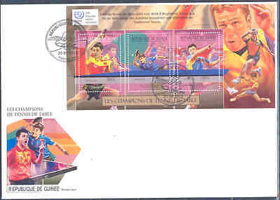 GUINEA 2012 CHAMPIONS OF TABLE TENNIS PING PONG SHEET ON FDC