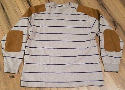 Orvis Long Sleeve Rugby Crew Neck Jersey Shirt Sweatshirt Elbow Patch Medium