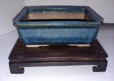 """Japanese Bonsai Pot Pottery VINTAGE Blue Glazed rectangle 4.5""""x3.25""""x1.5"""""""
