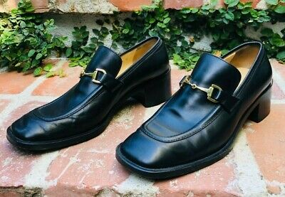 Vintage Gucci Black Horsebit Loafers with Stacked Heel by Tom Ford , size 38.5