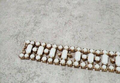 Vintage Continental White Milk Glass Rhinestone Gold  MCM Geometric Bracelet