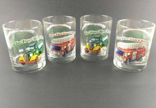 4 Vintage 1996 Classic Series HESSFirst Hess Truck & Fire Truck Tumbler Glasses