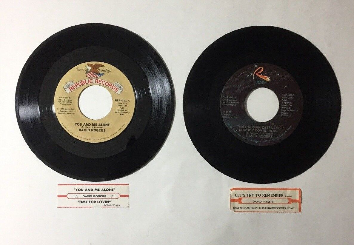 """David Rogers 2 Lot 45 RPM Vinyl 7"""" Record Country 1970s Jukebox Strips"""