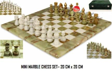 Mini Green Onyx & White Marble Chess Set- FATHER DAY GIFT Melbourne CBD Melbourne City Preview