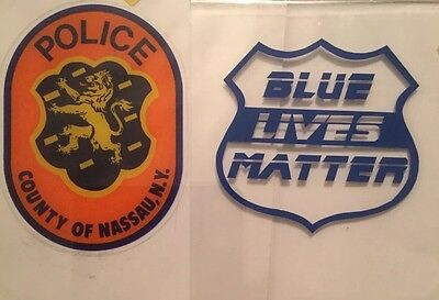 Nassau County Police (InWindshield) Decal 1+1 Blue Lives Matter (clear) Sticker