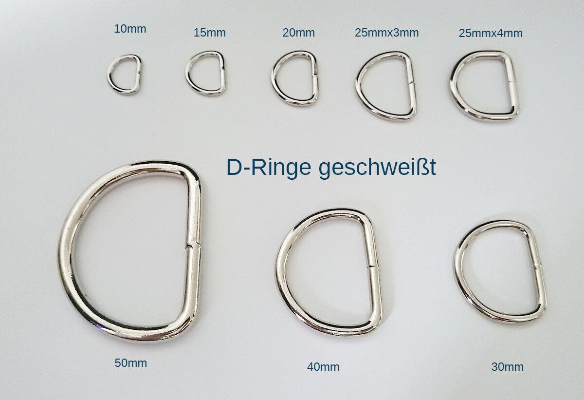 D Ring Metall 50 mm Stahl Halbringe Halbrund Ring 10 D-Ringe