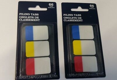 Lot Of 2 Filing Tabs 1 X 1.5 Blue Yellow Red Colors Bd3722