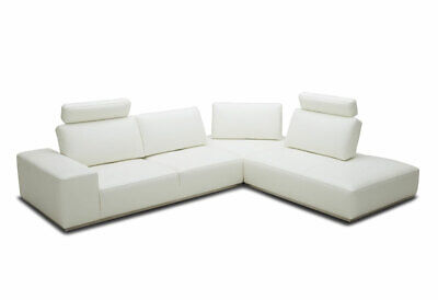 NEW Modern Sectional White Leather Living Room Furniture Sofa Chaise Set IGW4