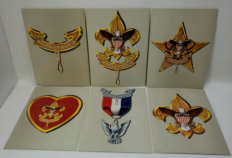 BOY SCOUT OF AMERICA POSTERS CUB SCOUTS MADE USA LITHO PRINTS LATE 1950