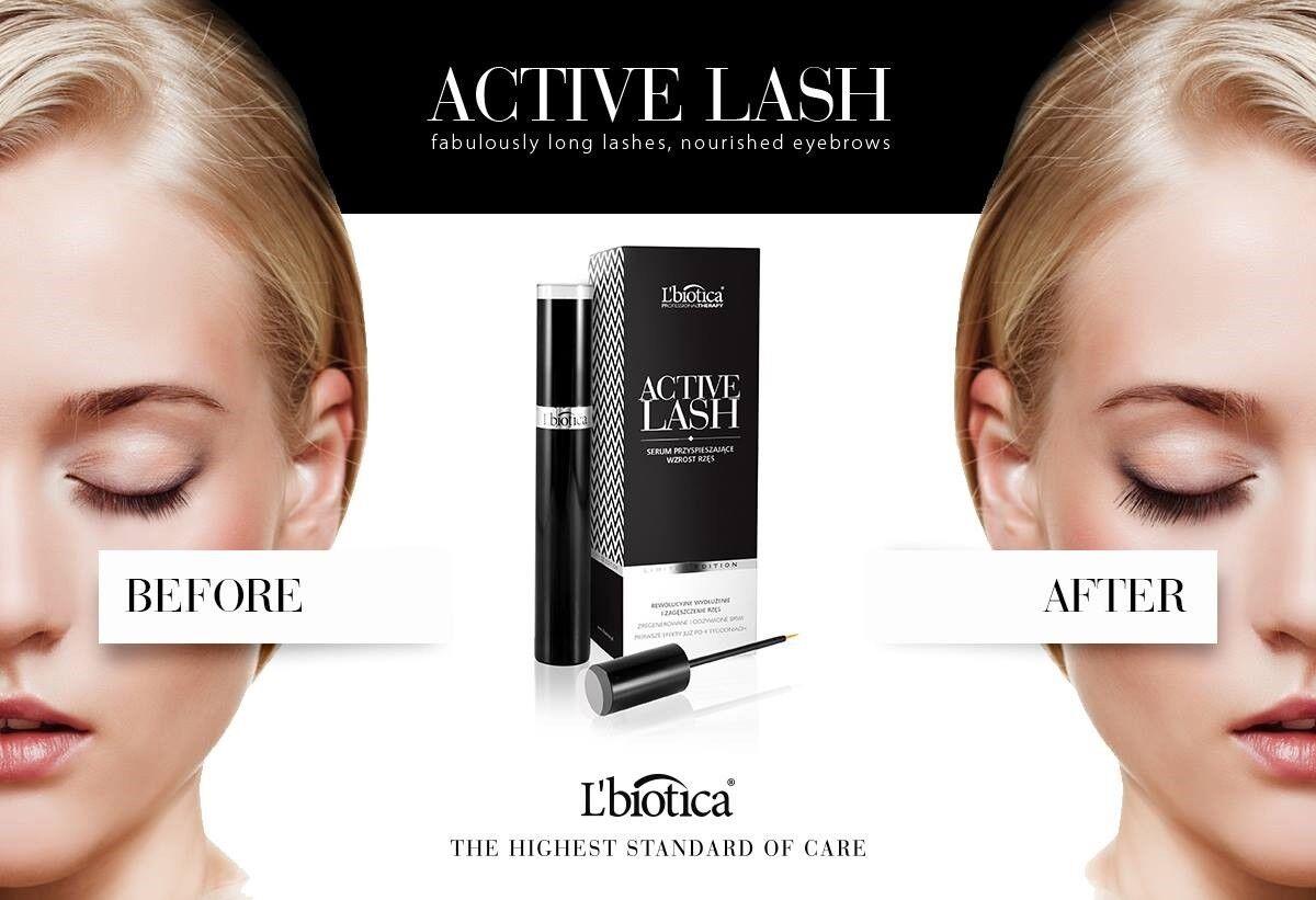 L'Biotica Active Lash Serum for Eyelashes 3,5 ml Natural Long Lashes Lbiotica
