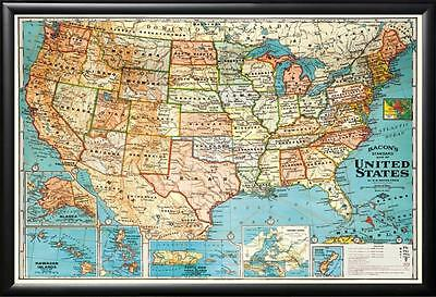 United States Map in Premium Wood Frame Perfect for Push Pins Tracking Trips