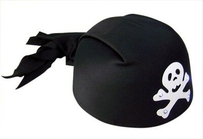Black Flashing Light Up Skull Pirate Banadana Halloween Costume Hat, One Size