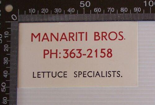 VINTAGE MANARITI BROS LETTUCE SPECIALISTS ADVERTISING PROMO BUSINESS STICKER