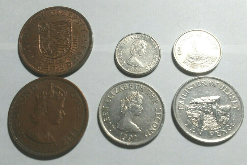 JERSEY, VINTAGE COIN TRIO, 1 TO 10 PENNY