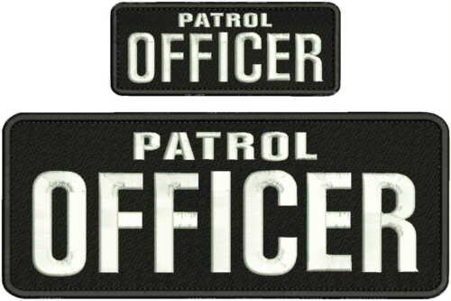 PATROL OFFICER EMBROIDERY PATCH 4X10 & 2X5 HOOK ON BACK  BLK/WHITE