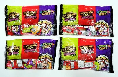 2x WARHEADS HOT SOUR CANDY 18ct VARIETY PACKS ~ EXTREME HEAT WORMS & CHEWY CUBES - Warhead Jelly Beans