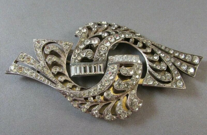 Vintage Art Deco Sterling Pin Fur Dress Clip Rhinestone Brooch Fish Figural Sign