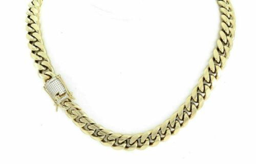 Mens Heavy Stimulated Lab Diamond Miami Cuban Link Chain Necklace