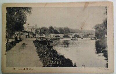 Postcard Richmond England RARE Bridge River Very Early Fashion Boats