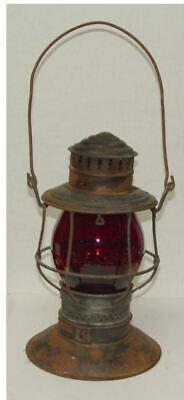 CMStP Chicago Milwaukee St Paul Adlake BrassTop Railroad Lantern Tall Red Globe