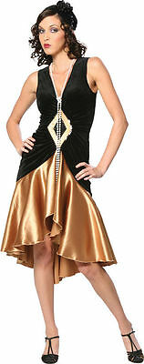 Puttin' on the Ritz 20's Flapper Black Gold Dress Up Halloween Adult Costume - Puttin On The Ritz Halloween Costume