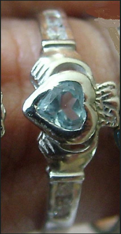 Anillo De Plata Claddagh Con Cuarzo Azul Y 4 Circonios Para Compromiso,boda -  - ebay.es