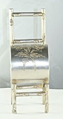 ANTIQUE STERLING SILVER FIGURAL ROSES & CHAIR NAPKIN RING 121 GRAMS