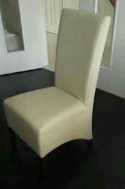 6 x Cream faux leather dining chairs