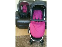 mother care xpedior 3 in 1 complete travel system pink colour pack