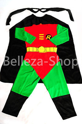 Robin Superhero Costume Cosplay Outfit Halloween Fancy Party Kid Size 2T-7 FC007 - Robin Kids Costume